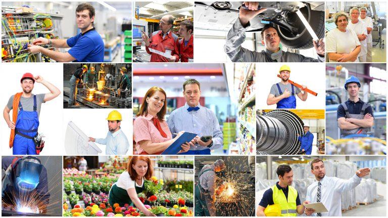 Collage mit verschiedenen Berufen - Arbeiter im Handel,Industrie,Logistik,Managment, Handwerk,...